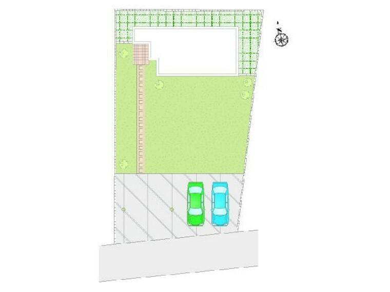 区画図 区画図・・・駐車スペースは4台分確保しております。お庭も十分な広さがございますので、お子様の遊び場としても使えます!