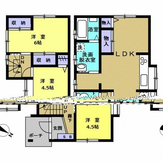 間取り図 【リフォーム後間取図(予定)】キッチンは和室繋げ約10帖LDKに変更予定です。脱衣所と浴室を移設し、1坪タイプのユニットバスを設置します。