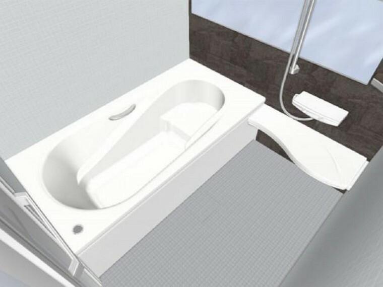 浴室 【同仕様写真】LIXIL製の1坪タイプの浴槽は、エコベンチ式で半身浴が出来、水道・光熱費を節約するエコ性能を両立させたデザイン(壁のアクセント色はデオブロストーン色予定)
