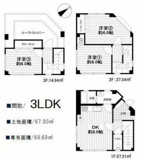 間取り図 【間取り】3LDK、土地面積67.30m2、建物面積69.69m2