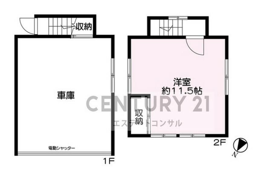 専用部・室内写真 付属建物概要 種類:車庫居宅・構造:木造スレートぶき2階建・床面積:1階27.26平米(車庫)・2階23.13平米(洋室約11.5帖)