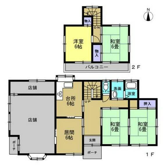 間取り図 店舗兼居宅から居宅にリフォームします。現在の店舗部分はリビングに変更予定。4LDKの住宅になる予定です。