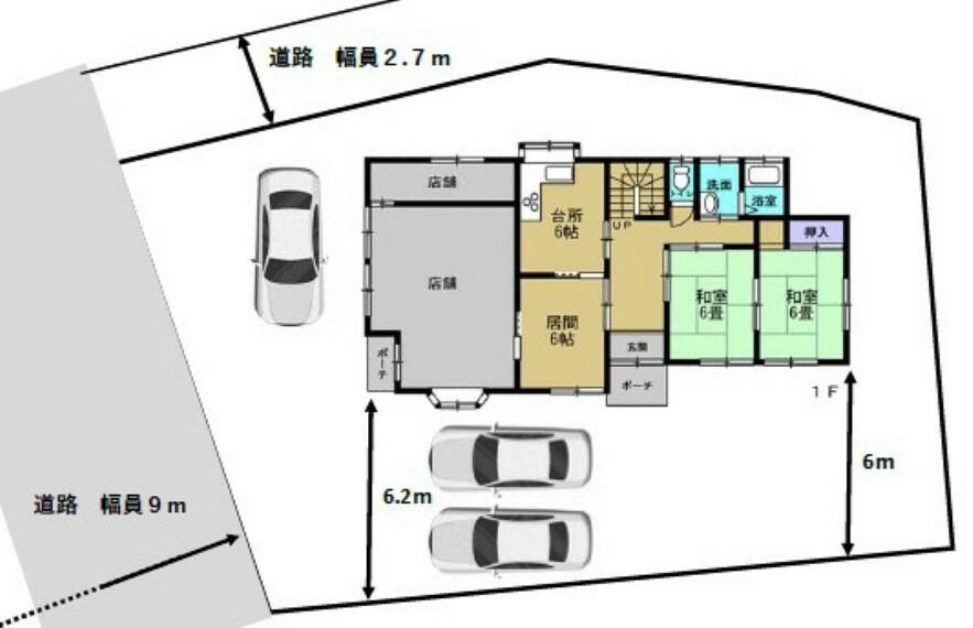 区画図 【区画図】駐車並列2台と横付け1台できます。土地102坪と広々しているので、圧迫感が無く、ゆったりとした生活を送れます。