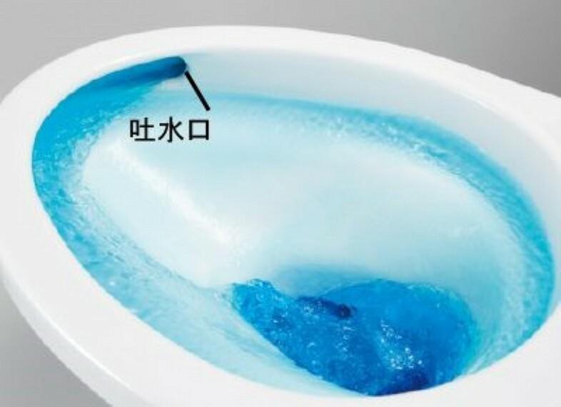 構造・工法・仕様 トイレ。トルネード洗浄なので、少ない水でも前方の返し部分から後方部までしっかり洗浄。
