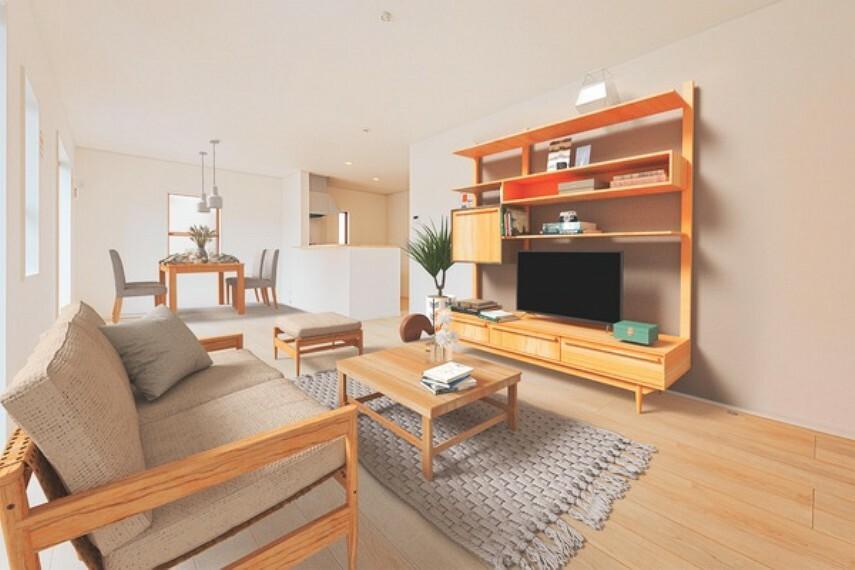 居間・リビング *家具はCGレイアウトによるものです。* 温もり溢れる明るく心地の良い空間のリビングです。居心地の良い空間で、家族団欒の時間が増えそうですね!