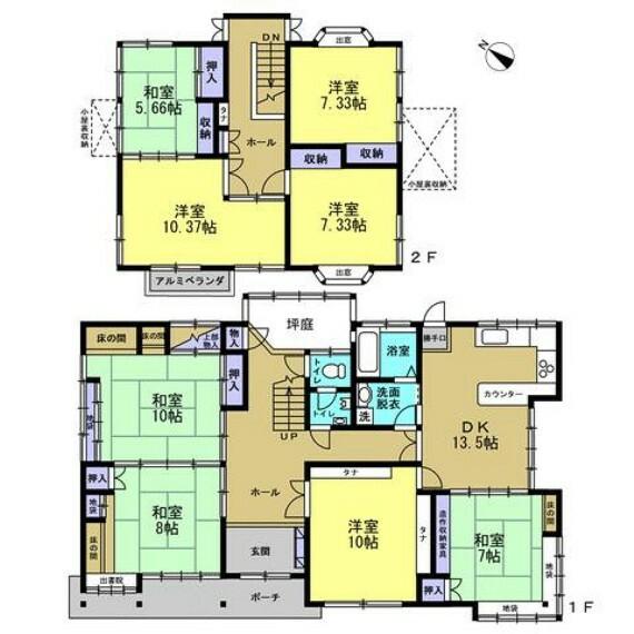 間取り図 リフォーム前の間取図です。8DKの2階建てです。お部屋数も十分なので、一人一部屋持て、客室も作れちゃうかも知れませんね。