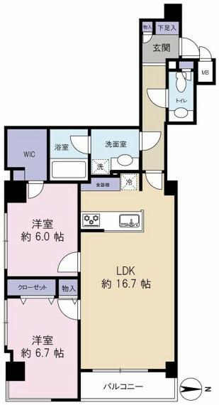 間取り図 4階 東南角住戸!2LSK+WIC 収納豊富!設備も充実しています!