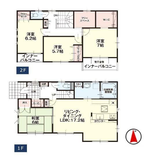 間取り図 【1号棟間取り図】4LDK+WIC+フリースペース 建物面積111.78平米(33.81坪)