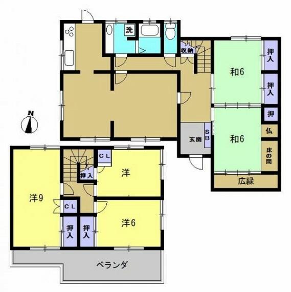 間取り図 【間取図】2階和室は洋室に変更、新たに収納を設置予定です。