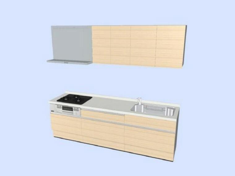 キッチン 【同仕様写真】キッチンはハウステック製のシステムキッチンに交換します。ソフトモーション付きのシンプルなオール引き出し収納タイプです。