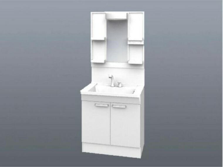 洗面化粧台 【同仕様写真】TOTO社製の洗面化粧台に新品交換します。お湯と水をきっちり使い分けられる「エコシングル水栓」で省エネを実現。新開発のキャビネットは大幅に収納力をアップした大容量タイプです。