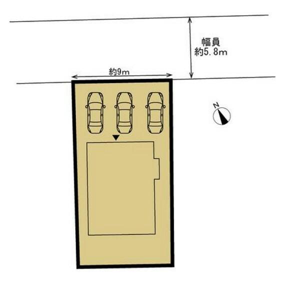 区画図 【区画図】駐車場の整備を行い、3台駐車可能にします。