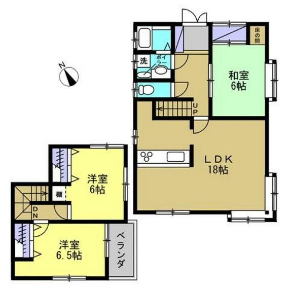 間取り図 【間取図】1階:18帖LDK、6.5帖和室 2階:洋室6帖、洋室6.5帖 全室6帖以上の間取りで広々お使いいただけます。