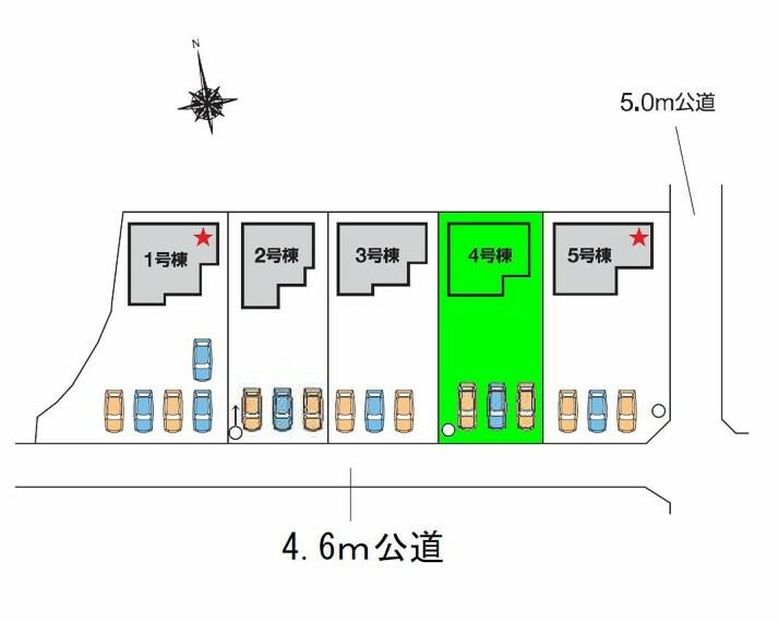 区画図 南接道に面する敷地面積70坪超!カースペースもお庭も広々