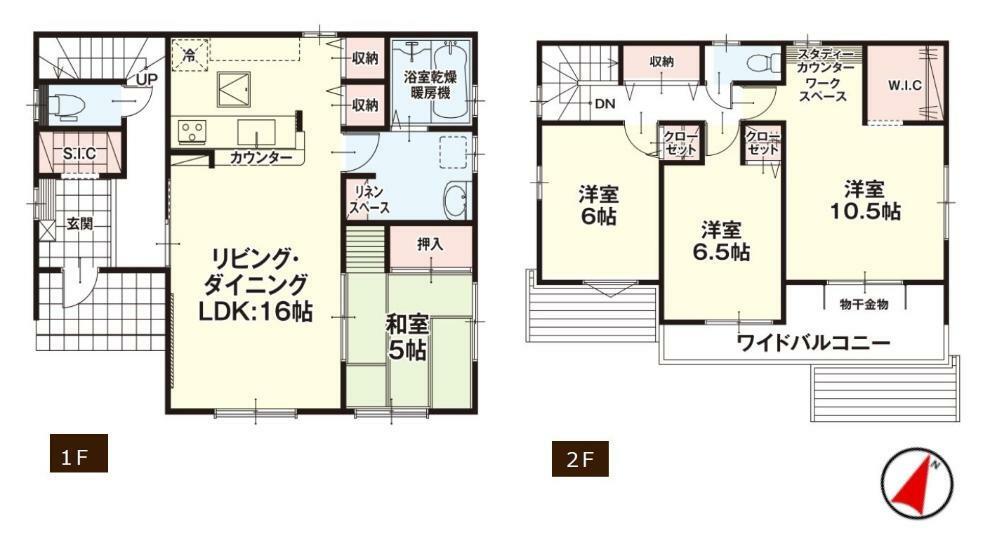 間取り図 【1号棟間取り図】4LDK+WIC+ワークスペース 建物面積110.96平米(33.56坪)