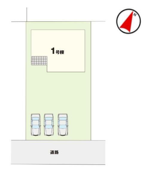 区画図 【1号棟区画図】土地面積232.01平米(70.18坪)