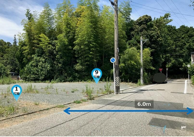 現況写真 ■現地撮影:2021年8月 ※造成工事前の現地写真です 分譲地北側道路より1号地・9号地を眺めた様子 現地は現在造成工事中、工事完了は2021年12月予定です。