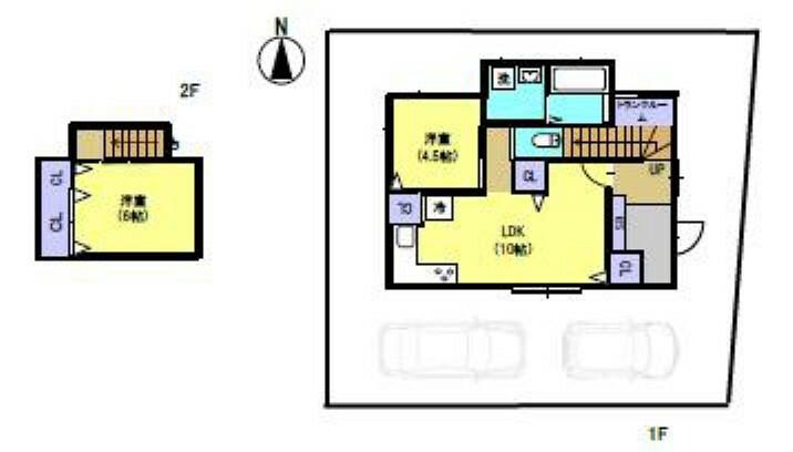 間取り図 2DK、駐車2台、コンパクトな住宅です。