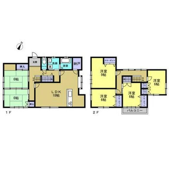 間取り図 リフォーム工事後の間取り図です。2階に個室が4部屋ございますので、ご家族が多い方にもおすすめです。