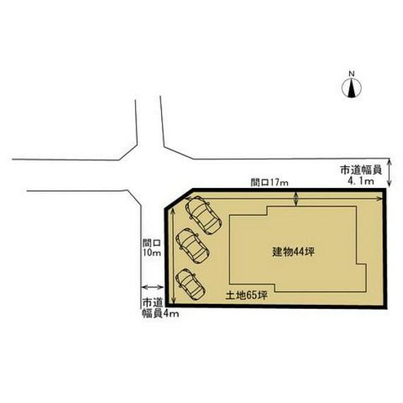 区画図 駐車は拡張工事で3台可能になります。