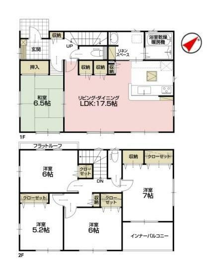 間取り図 【2号棟間取り図】5LDK 建物面積115.48平米(34.99坪)