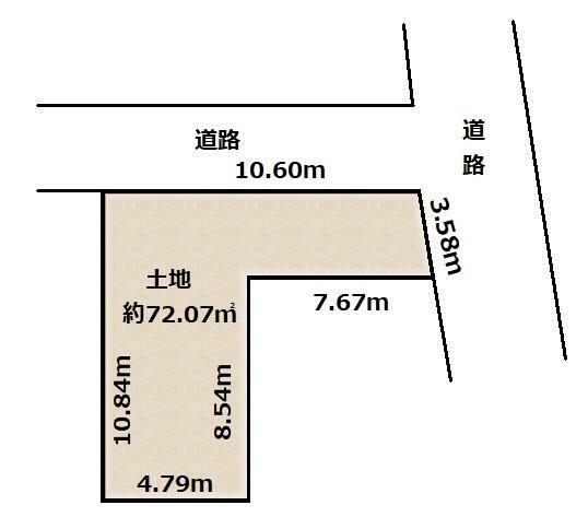 土地図面 土地価格1530万円、土地面積72.07m2