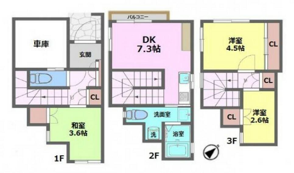 間取り図 ■コンパクトサイズの3LDK+車庫付き ■新規内装リフォーム施工でキレイなお住まい