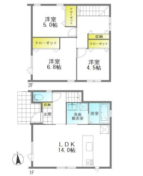 間取り図 (C棟間取り図)コンパクトな3LDK!収納充実で2階ホールには室内物干し付きです。