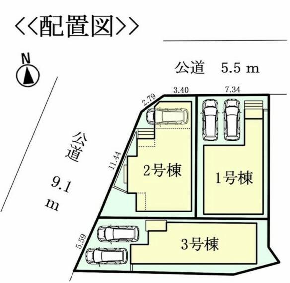 区画図 前面道路:北側公道約5.5m、西側公道約9.1m、駐車2台可
