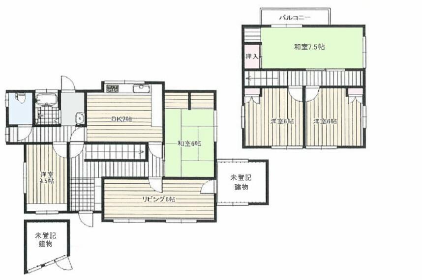 間取り図 八木南小学校160m・久米田中学校480m・生活便利・土地約50坪付き・ゆったり広々6DK・南向き