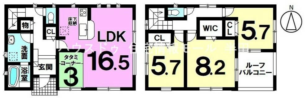 間取り図 全居室南向き! 収納充実3LDK新築戸建