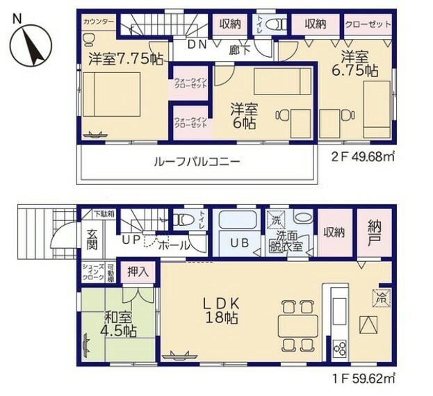 間取り図 納戸や洗面脱衣室収納、WIC、SICなど充実した収納スペース