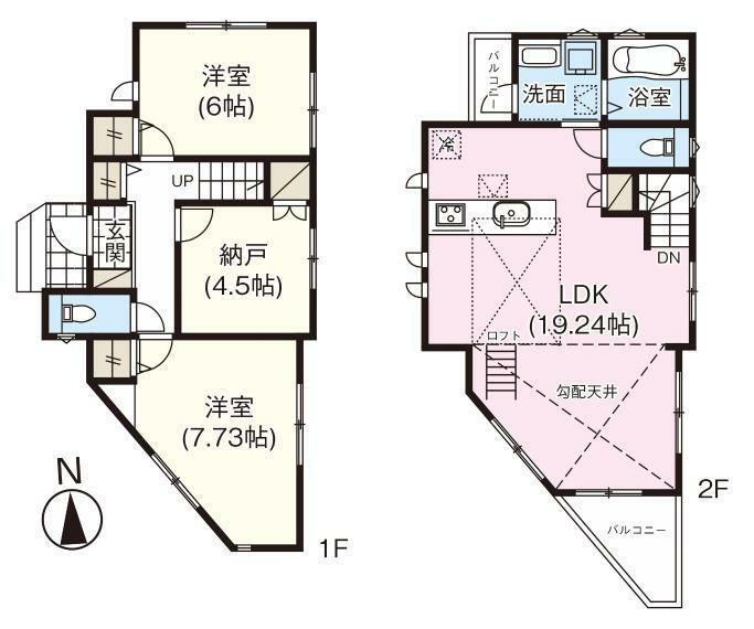 間取り図 【間取図】2SLDK、敷地面積:79.09平米(23.92坪)、建物面積:82.37平米(24.91坪)、総額:5280万円(税込)