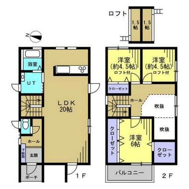 間取り図 【リフォーム後予定間取】2階の洋室とロフトを2間へ仕切り、2SLDKから3LDKへ間取変更を行います。ロフトを寝床にして、お子様のお部屋にしてあげると喜ぶ顔が想像できますね。