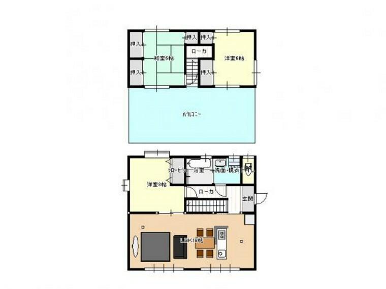 間取り図 【リフォーム後/間取り図】間取りは3LDKの二階建てです。1階に洋室1部屋とリビング、2階は和室1部屋と洋室1部屋となっております。