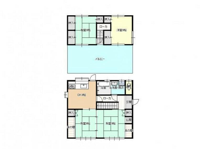 区画図 【リフォーム前/間取り図】和室の続き間をLDKに間取り変更します。洋室を増やし、暮らしやすい家にリフォームします。