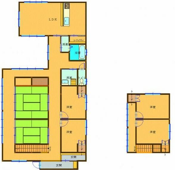 間取り図 リフォーム後の間取りです。LDKキッチンは対面に配置します。個室を1階、2階合わせて4部屋確保いたします。水回り全て新品交換をおこないます。