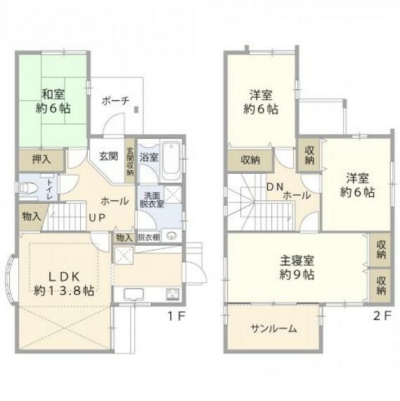 間取り図 1階:LDK13.8帖/和室6帖/洗面/浴室/トイレ 2階:洋室9帖/洋室6帖/洋室6帖