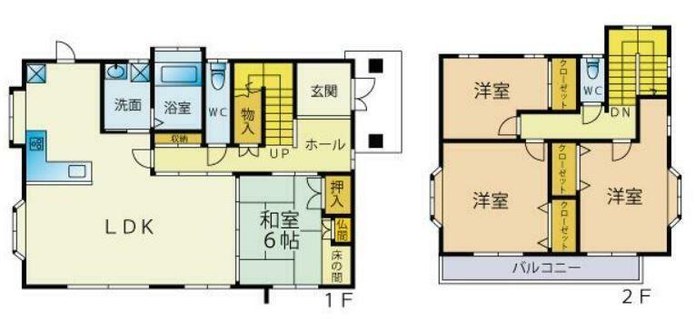 間取り図 家計に優しいオール電化住宅! 各部屋広々とした収納豊富な間取りの4LDK!