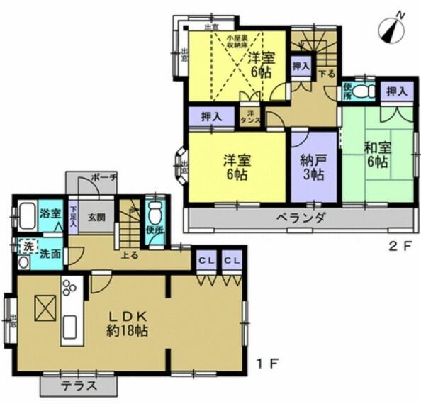 間取り図 テレワークルームなどに使える納戸付きの3LDKです。