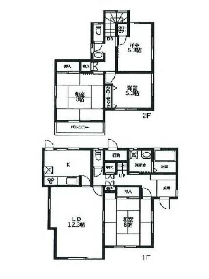 間取り図 全居室収納付き、ゆとりある4LDKの間取りです。