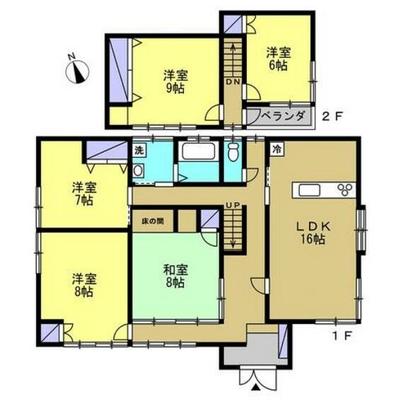 間取り図 【リフォーム中】間取図になります。16帖のLDKと独立した居室5部屋の間取りです。