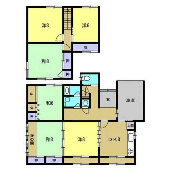 間取り図 【リフォーム中】4LDKに間取りは変更予定です。全居室収納付きで6帖以上の広さがあるので嬉しいですね。1階の和室6畳は掘り込み車庫に変更予定です。