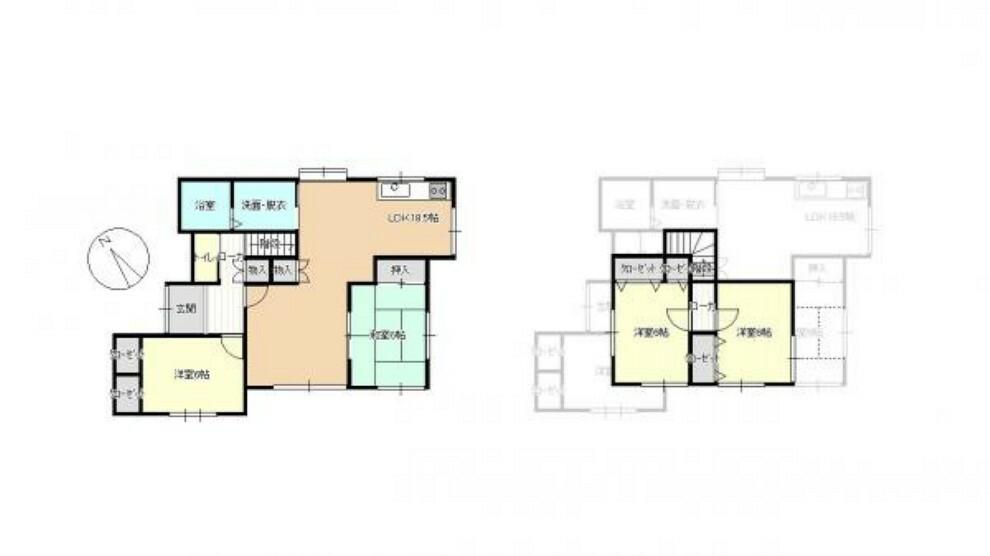 間取り図 間取り図です。2階に2部屋ある4LDKなので、お子様やお年寄りのいるご家族にも生活しやすいです。