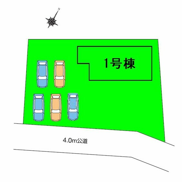 区画図 敷地面積94.96坪!駐車スペースゆとりの5台+広々南庭付き