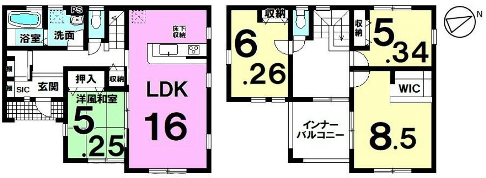 間取り図 【西浦北小学校徒歩11分】開放的な角地に位置した4LDK