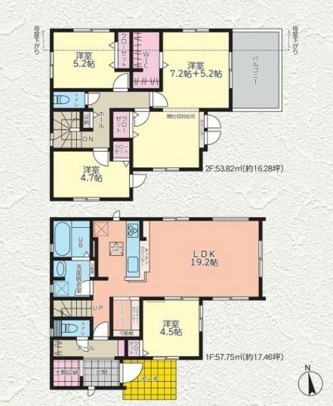 間取り図 テレワークやお子様の勉強スペースにも活躍するリビングユーティリティ。 玄関に外部のモノをスッキリ収納できる土間収納。 ライフスタイルに合わせて間仕切り変更OKな2階洋室。