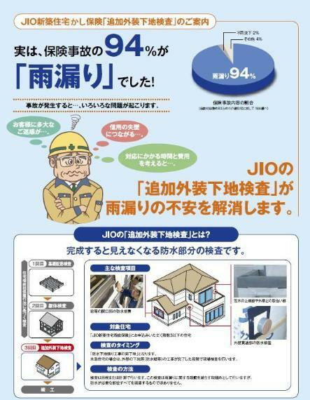構造・工法・仕様 JIOのオプション検査 追加外装下地検査も標準装備!一番多い水漏れ事故を事前に予防します!