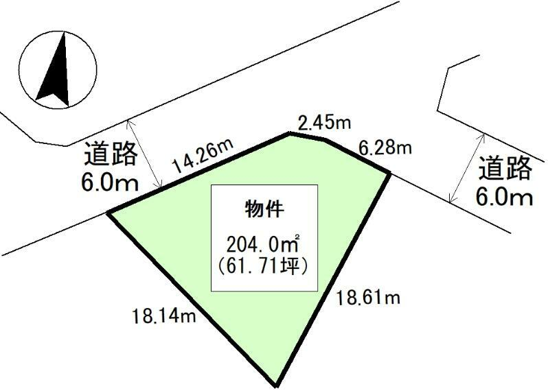 土地図面 公簿:204平米(61.71坪)