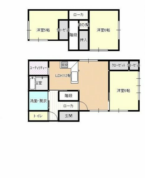 間取り図 【リフォーム後間取り図】リフォーム後の予定間取り図です。一階にLDKを設け、2階は和室から洋室に間取り変更するので使い勝手がよくなりますよ。